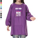 Custom Kids' Cotton Canvas Long Sleeved Paint Smock with One Front Pocket