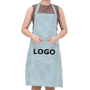 Custom Chalk Stripe Bib Apron with Two Pockets, 31 1/2
