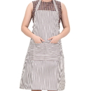 Blank Chalk Stripe Bib Apron with Two Pockets, 31 1/2
