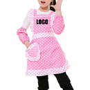 Custom Girls Pink Dot Lovely Apron with Pocket, Double-Layer Waterproof Apron, Kids Apron