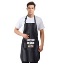 Custom Adjustable Chalk Stripe Bib Apron with Two Pockets, 31 1/2