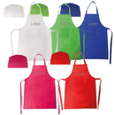 Custom Kids' Non Woven Apron and Velcro Closure Chef Hat Set, Long Leadtime