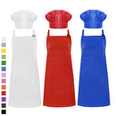 Cotton Canvas Adjustable Apron Chef Hat Set for Men and Women