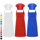 Cotton Canvas Adjustable Apron Chef Hat Set for Men and Women