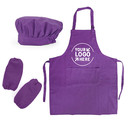 Custom Cotton Canvas Adjustable Kitchen Apron, Chef Hat and Oversleeves Set