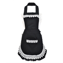 Opromo Black Lace Maid Apron Women Bakery Apron with Front Pocket, 2 Colors
