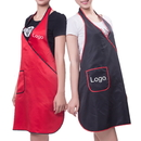 Custom Light Weight Waterproof Hair Salon Apron Hair Dressing Apron with One Pocket, Black and Red