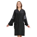 Opromo Black Waterproof Hair Cutting Apron with Sleeves Adult Loose Spa Robe, 24 x 39.5 inches