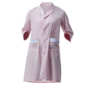 Opromo Fashion Cotton Women's Uniform Beauty Salon Coat with Button Closure and 2 Pockets, Pink