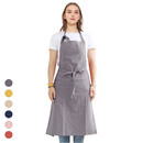 Opromo Unisex Adjustable Soft Cotton Bib Apron Solid Color House Simple Long Cooking Kitchen Work Apron, 35 1/2