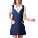 Opromo Specialized Fashion Cotton-Polyester Sleeveless Uniform Apron for Hair/Nail Beauty Salon, With Two Pockets, 6 Colors