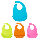 Opromo Adjustable Toddler Feeding Bib Soft Silicone Waterproof Crumb Catcher Unisex Baby Aprons with Pocket