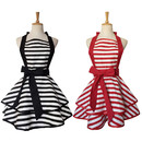 Opromo Cute Christmas Retro Stripe Apron Lacy Vintage Maid Cooking Apron for Women Ladies