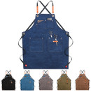 TOPTIE Woodworking Canvas Apron Unisex Working Apron Chef Cross-Back Apron with Adjustable Straps and Large Pockets