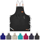 TOPTIE Unisex Chef Apron Cross Back Adjustable Bib Apron with Pockets for Kitchen Cooking Baking BBQ