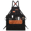 TOPTIE Haircut Work Apron, Heavy Canvas Hairdress Tool Aprons with Adjustable Strap And Multi Pockets