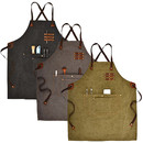 TOPTIE Unisex Canvas Work Aprons for Heavy Duty Woodworking, Barista, Barber, Chef, Bartender, Metal Working