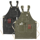 Opromo 16oz Canvas Work Apron with Pockets Water-Resistant Tool Aprons Cross Back Straps Adjustable