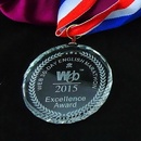 Custom Large Crystal Medal, Meaningful Crystal Award, Sand Blasting