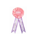 Custom 4-Streamer Rosettes Ribbon Button, 1 Ruffle of Tight Pleats, 3