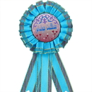 Custom 3-Streamer Rosettes Ribbon Button, 2 Ruffles of Tight Pleats, 3 1/8