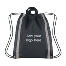Customized Large 210D Polyester Reflective Drawstring Backpack, 16