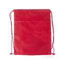 Blank 420D Nylon Drawstring Bag with Zippered Front Pocket, 18 3/4