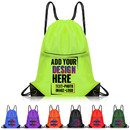 Custom 210D Polyester Water-Repellent Drawstring Backpack with Front Zipper, 15