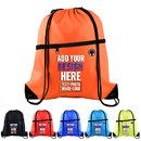 Custom 210D Polyester Drawstring Backpack with Front Zipper Gym Sack Bag with PU Leather Reinforced Corners