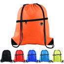 Blank 210D Polyester Drawstring Backpack with Front Zipper, 13.5