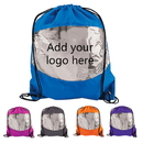 Custom Clear-View Drawstring Backpack, 210D Waterproof Polyester, 15 1/2