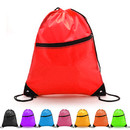 Opromo Blank 210D Polyester Drawstring Backpack with Front Zipper Pocket Cinch Sack Bulk String Bags