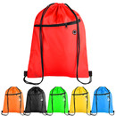 Opromo 210D Polyester Drawstring Bags with Zipper Pocket Pull String Backpack Gym Sports Cinch Bag