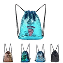 GOGO Mermaid Sequin Drawstring Bags, Reversible Glitter Backpacks Shoulder Bags For Girls Boys Women
