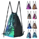 GOGO Mermaid Sequin Drawstring Bag Glittering Outdoor Shoulder Bag, Reversible Glitter Drawstring Backpack