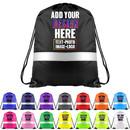 Custom Reflective Drawstring Backpack Personalised Hi-Viz Gym String Sack Bags Cinch Bag
