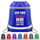 Custom Reflective Drawstring Backpacks Bags with Zipper Pocket