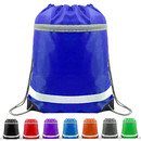 Opromo Reflective Drawstring Backpacks Bags Gym Sports String Cinch Bag with Zipper Pocket