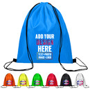 Custom 210D Poly Drawstring Backpack with Side Cloth Strap