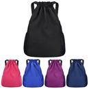 Opromo Nylon Waterproof Drawstring Backpack Gym Sack Cinch Bag with Pockets Sports Sackpack Bag