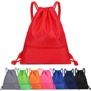 Opromo Nylon Waterproof Drawstring Backpack Gym Sack Cinch Bags with Pockets, Unisex String Sports Bag
