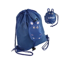 Custom Kids' Foldable Hippo Shaped Drawstring Backpack, 190T Polyester, 12 1/2