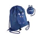 Custom Kids' Foldable Hippo Shaped Drawstring Backpack, 190T Polyester, 12 1/2