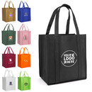 Custom Large Reusable Reinforced Handle Grocery Tote Bag with Removable PVC Board Bottom, 13