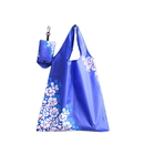 210D Polyester Foldable Grocery Shopping Tote Bag with One Clip, 14