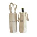 Custom 16 oz. Canvas Wine Tote Bag, 4 1/4