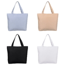 Blank Zipper Waterproof PU Coated Tote Bag, Reusable Grocery Shopping Bag