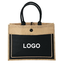 Custom Eco-Friendly Jute tote Burlap Shopping Bag / Jute and Cotton Combination