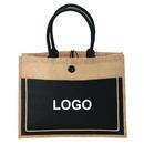 Custom Eco-Friendly Jute tote Burlap Shopping Bag / Jute and Cotton Combination