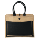 Blank Eco-Friendly Jute tote Burlap Shopping Bag / Jute and Cotton Combination